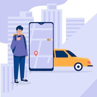 Illustrazione di interfaccia app taxi