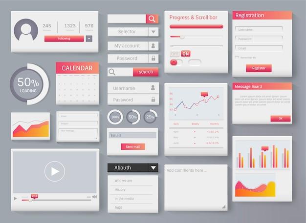 Illustrazione di interfaccia modello di layout di elemento web