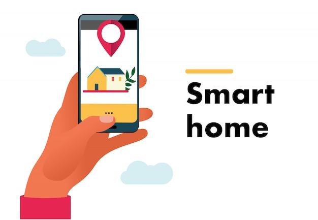 Illustrazione di internet of things. casa intelligente. mano che tiene il telefono per controllare le cose. domotica, stile piatto. iot.