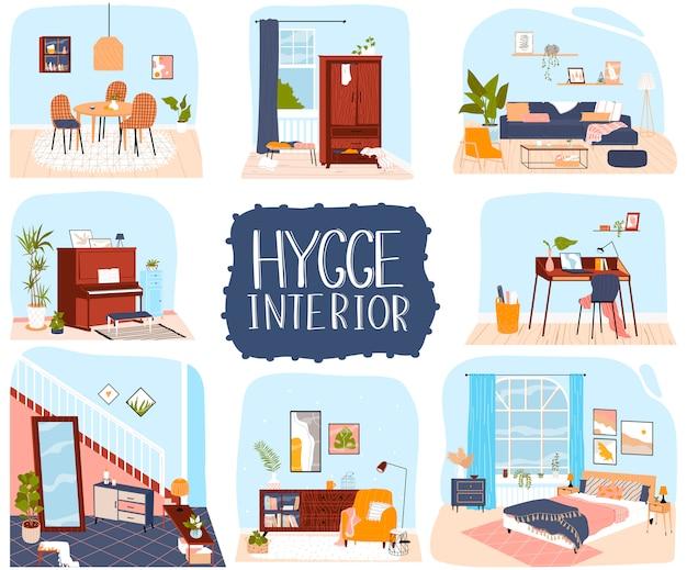 Illustrazione di interni casa, collezione di appartamenti in cartone animato con mobili accoglienti e decorazioni in stile hygge
