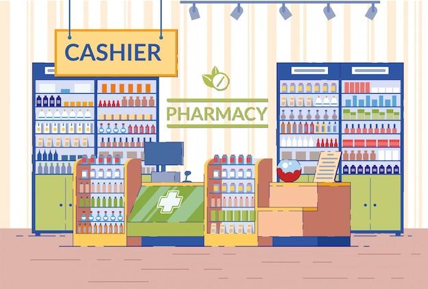 Illustrazione di interni di farmacia