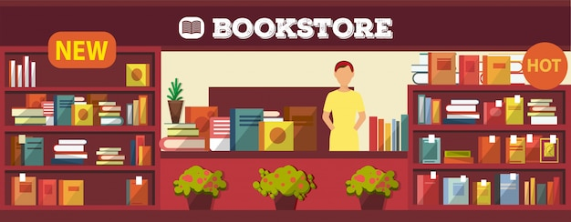 Illustrazione di interni negozio di libri. vari libri sugli scaffali e la scrivania in cassiere al chiuso. libreria con venditore ragazza senza acquirenti all'interno. articoli popolari e nuovi.