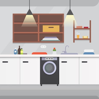 Illustrazione di interni o architettura e mobili del bagno.