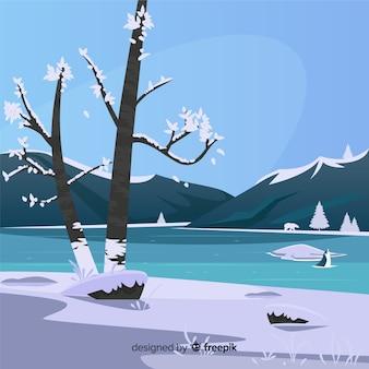 Illustrazione di inverno lago ghiacciato