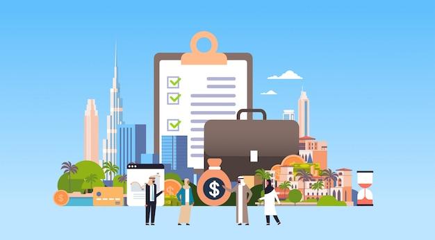 Illustrazione di investimento con popolo arabo