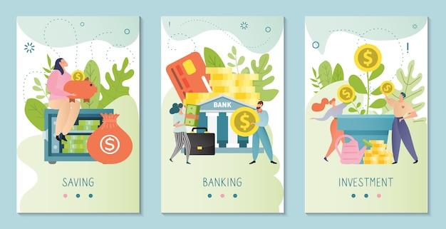Illustrazione di investimento. concetto di attività bancarie, risparmio, affari e finanza. investitore seduto al sicuro. le persone investono denaro in banca.