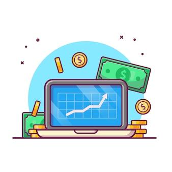 Illustrazione di investimento online. computer portatile con bianco di concetto dell'icona dei soldi, di affari e di finanza isolato