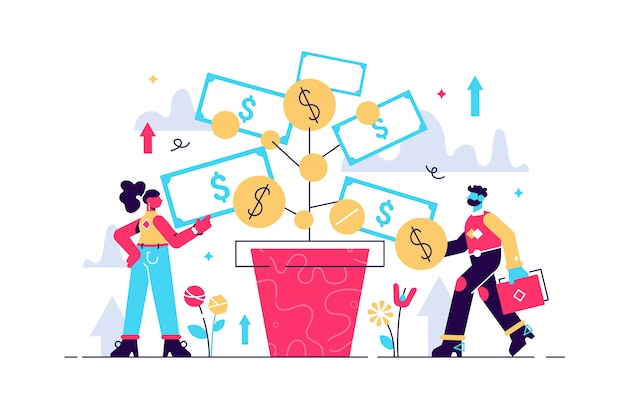 Illustrazione di investimento profitto di deposito e affari in crescita. le persone che lavorano in gruppo coltivano denaro per finanziare attività future. aumenta il reddito in dollari con una strategia di successo degli investitori bancari