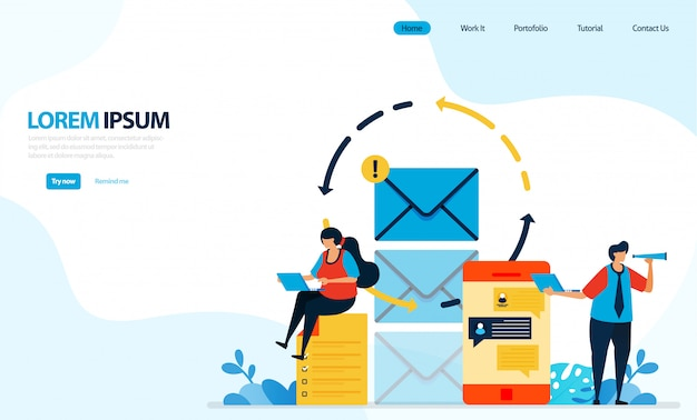 Illustrazione di invio di messaggi istantanei ed e-mail. ricaricare l'invio di messaggi per la sicurezza e il comfort dell'utente.