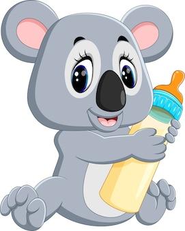 Illustrazione di koala carino tenendo la bottiglia di latte