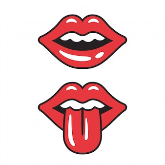 Illustrazione di labbra rosse bocca femminile sexy con la lingua sporgente.