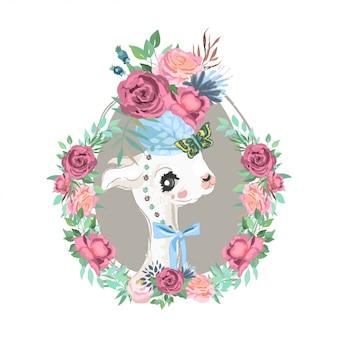Illustrazione di lama e fiori