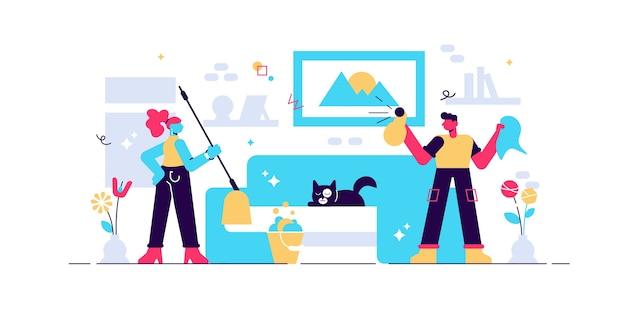 Illustrazione di lavori domestici.