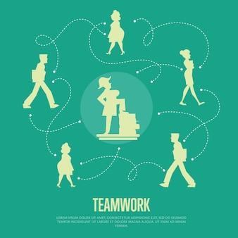 Illustrazione di lavoro di squadra con modello di testo con sagome di persone