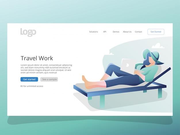 Illustrazione di lavoro di viaggio per modello di pagina di destinazione