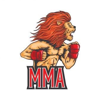 Illustrazione di leone mma