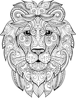 Illustrazione di leone ornato doodle disegnato a mano