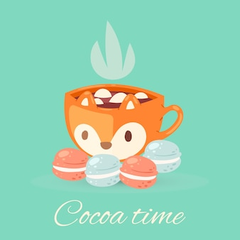 Illustrazione di lettere di cacao tempo, tazza accogliente con gustosa bevanda deliziosa bevanda al cacao, tazza carina di cioccolata calda aromatica
