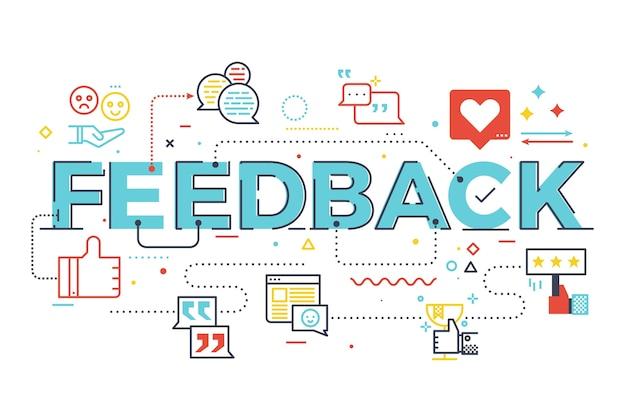 Illustrazione di lettering parola feedback