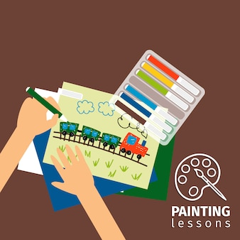 Illustrazione di lezioni di pittura per bambini