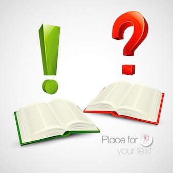 Illustrazione di libri e personaggi o domande e punto esclamativo