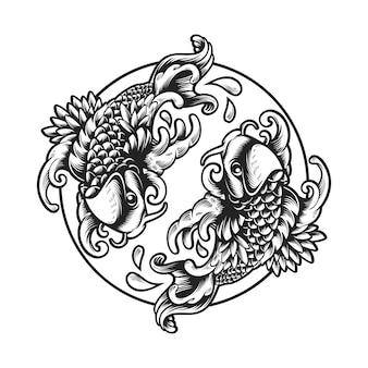 Illustrazione di libro della pagina di coloritura del pesce di koi