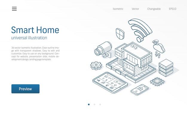 Illustrazione di linea isometrica smart home. casa della tecnologia, controllo rete cctv, icone disegnate schizzo di affari di costruzione di architettura moderna. sistema di automazione, concetto di iot.