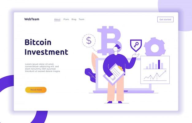 Illustrazione di linea piatta moderna investimento bitcoin di vettore