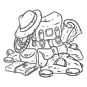 Illustrazione di lineart del pacchetto avventuriero per colorare