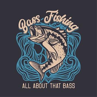 Illustrazione di logo del club di pesca della spigola nel fondo blu