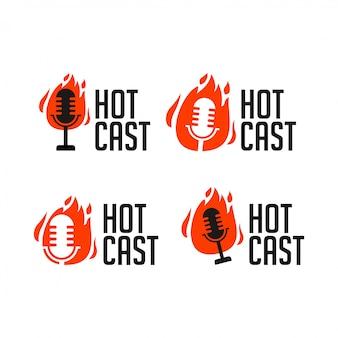 Illustrazione di logo dell'icona della radio di podcast di hotcast