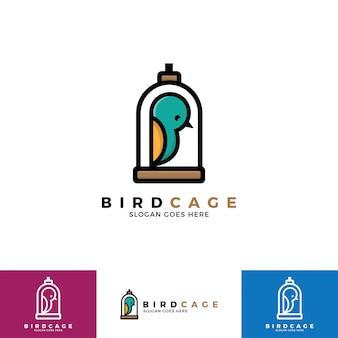 Illustrazione di logo della gabbia per uccelli.