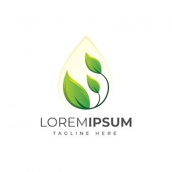 Illustrazione di logo della goccia di acqua della foglia della natura