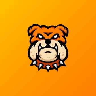 Illustrazione di logo della mascotte del bulldog