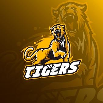Illustrazione di logo della mascotte della tigre.