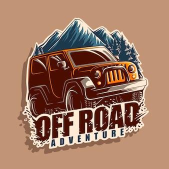 Illustrazione di logo di avventura su strada