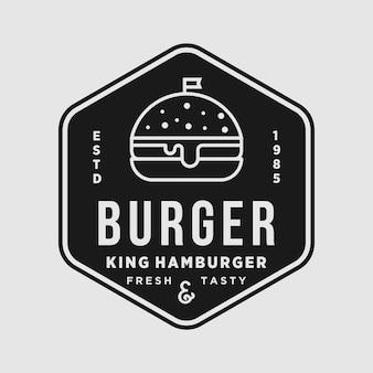 Illustrazione di logo di disegno dell'elemento di vettore del negozio dell'annata dell'hamburger