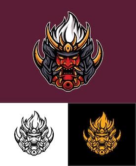 Illustrazione di logo di fuoco samurai oni