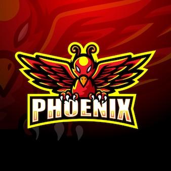 Illustrazione di logo di phoenix mascotte esport