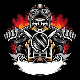 Illustrazione di logo di vettore del motociclista del cranio