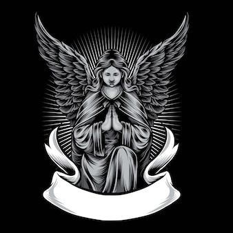 Illustrazione di logo di vettore della statua di angelo