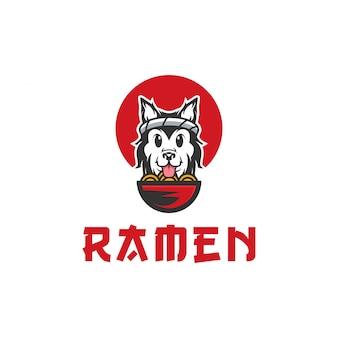 Illustrazione di logo di vettore di cane ramen