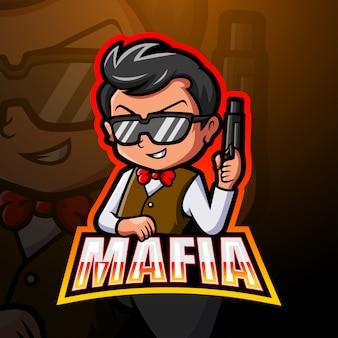 Illustrazione di logo esport mafia mascotte