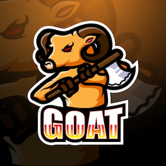 Illustrazione di logo esport mascotte di capra