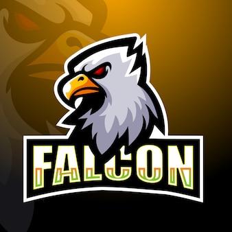 Illustrazione di logo esport mascotte falco
