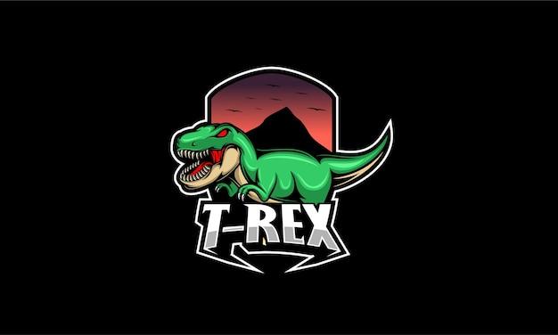 Illustrazione di logo mascotte arrabbiato t rex