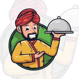 Illustrazione di logo mascotte chef arabo