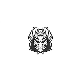 Illustrazione di logo vettoriale maschera samurai