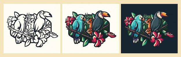 Illustrazione di logoo dell'uccello