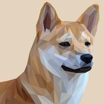 Illustrazione di lowpoly del cane di shiba inu